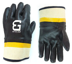 Better Grip Black Pvc Glove Safety Cuff For Garbage Pick Up And Oil-bg105blk/yel