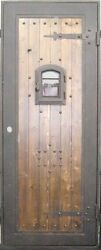 Wood Slab Single Iron Door With Pull Handle 38w X 96h New In Stock