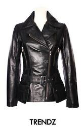 Ladies Military Belted Jacket Black Classic Tops Fashion Genuine Leather Jacket
