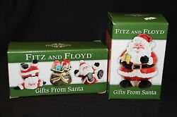 Fitz And Floyd Lot Of 2 Nib Gifts From Santa Lidded Box And Tumblers Figurines