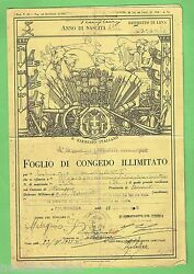 D155. Old Italian Army Discharge Paper Dark Yellow Colour