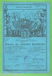 D155. Old Italian Army Discharge Paper Dark Blue Colour