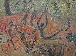 Aristide Caillaud-french Naive Artist-original Signed Oil-abstracted Figures