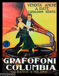 Art Deco Music Poster/dancing On A Record/columbia Records/italian/17x22 Inch
