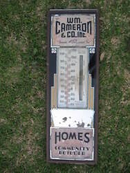 Old Large Art Deco Wm Cameron And Co Home Community Builder Thermometer E.c.thiel
