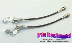 Stainless Front Brake Hoses Ford Custom 1967 Late, After 10-15-1966, Disc
