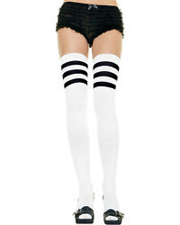 Morris Costumes Adult Athletic Ribbed Thigh Highs With 3 Stripe Top Os. UA6605WB