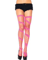 Morris Costumes Diamond Net Thigh High Neon Pink. UA6325NP