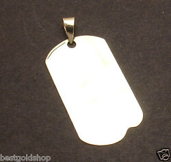 2 Mens Military Dog Tag Disc Charm Pendant Real Solid 14k Yellow Gold