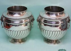 Pair Of Old Sheffield Plate Champagne Wine Coolers England Circa 1790