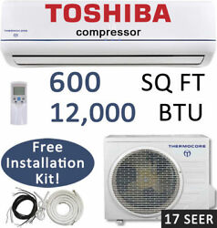 16 SEER - 12000 BTU Ductless Air Conditioner Heat Pump Mini Split: 1 TON w KIT