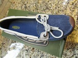 New Keen Catalina Canvas Boat Shoes Womens 8 Ensign Blue Slip Ons