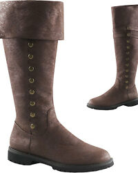 Morris Costumes Men's Cuff Knee High Faux Button Gotham Boot 10-11. HAG120BNMD