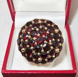 Big Antique 18k Yellow Gold Cocktail Ring With Garnets 23.8 Grams, Size 8.5