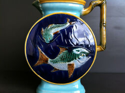 Very Rare Joseph Holdcroft Victorian Majolica Pitcher Fishand039s And Bambou