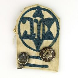 Maccabi Maccabiah Games Lapel Pins And Embroidered Badge Israel 1935-50 Judaica