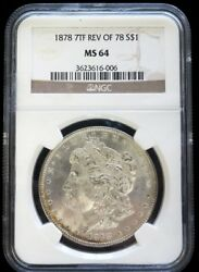 1878 7 Tail Feathers Rev 78 Silver Us Morgan 1 Dollar Coin Ngc Mint State 64