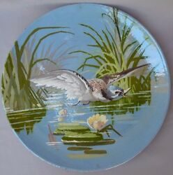 French Antique Terra Cotta Majolica Impressionist Large Wall Plate Bird Charger