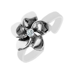 Hawaiian Plumeria CZ Cubic Zirconia Toe Ring Real Solid Sterling Silver 925