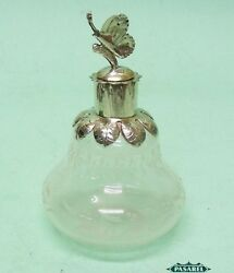 Vintage Venetian Silver Mounted Cut Glass Scent Bottle Italy 1970s