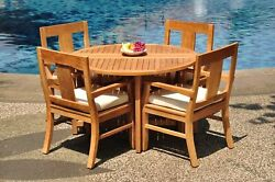 5 Pc Outdoor Dining Teak Set - 48 Butterfly Folding Table And 4 Arm Chairs Osborn