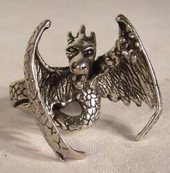 Flying Dragon Biker Ring Br14 Heavy Unique Style New Mideval Silver Mens Women