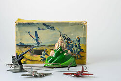 Antique Tin Toy Tippco Hausser Military Flak Airplane Germany Werhmacht Box