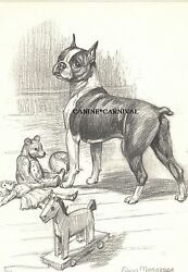 BOSTON TERRIER WITH TOYS  by Edwin Megargee Vintage Print 1953