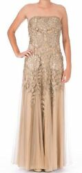 Brown And Gold Tulle Sue Wong Evening Gown Dress 6