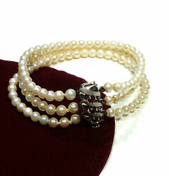 14k 585 Gold Bracelet Pearl Pearl Bracelet with Ruby White Gold Buckle 7 12in