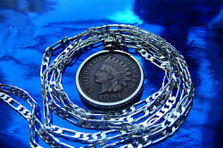 Scarce Antique Indian Chiefs Head Penny Pendant On 30 925 Sterling Silver Chain