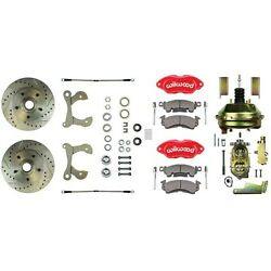 1955-64 Gm Wilwood Front Disc Brake Conversion Kit W/ Red Dual Piston Calipers