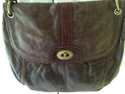 FOSSIL Long Live Vintage Large Brown Leather Messenger Crossbody Bag Purse