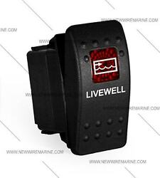 Labeled Boat Marine Contura Ii Rocker Switch Carling Lighted, Livewell Red Lens