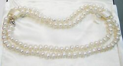 Cultured Button Pearl Necklace With Sterling Silver Clasp 36 Inches N229-t