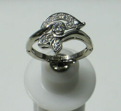 14k White Gold Leaf Styled Size 5 Diamond Estate Ring W/ Guard Ng16-a
