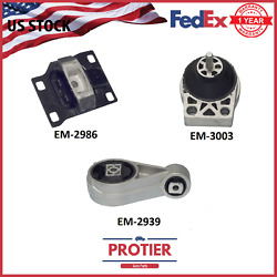 Fits Ford Focus 2000 - 2003 2.0l Hydraulic Engine Motor And Transmission Mount Set