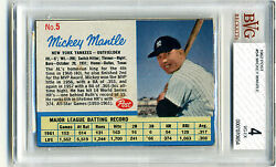 Mickey Mantle 1962 Post 5a Baseball Card Bvg 4 Psa 6 Yankees Hall Of Fame