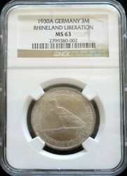 1930 A Silver Germany 3 Mark Weimar Republic Rhineland Ngc Mint State 63