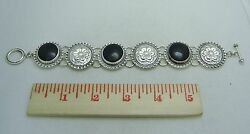 Sterling Silver And Onyx 8 1/2 Statement Bracelet With Toggle Clasp 315-o