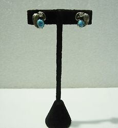 Stunning S.w. Sterling Silver W/turquoise And Cubic Zirconia Clip Earrings N368-k