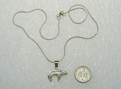 New Sterling Silver/opal Bear Pendant And 15'' Round Snake Chain Signed Dt N334-f