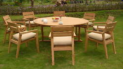 9 Pc Outdoor Dining Teak Patio Set - 72 Round Table And 8 Stacking Arm Chairs