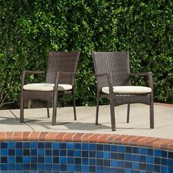 Melba Outdoor Brown Wicker Dining Chair With Beige Cushion Set Of 2