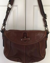 Fossil Vintage Hippie Looking Large Brown Leather Messenger Bag Purse