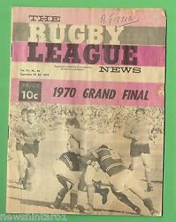 Tt. Rugby League News 19th Sept. 1970 Souths And Manly Grandfinal