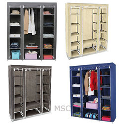 Fabric Canvas Wardrobe With Hanging Rail Shelving Home Storage 13545175cm