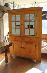 Antique Kitchen Corner Cabinet - Lovely Two-piece Stacking Circa 1890and039s