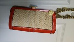 COACH Limited Edition Orange Leather & Straw Clutch Purse Bag- GORGEOUS!