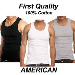 Lot 3-6 Mens 100 Cotton Tank Top A-shirt Wife Beater Undershirt Ribbed Muscle